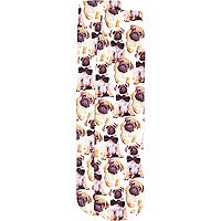 Cream pug montage print socks