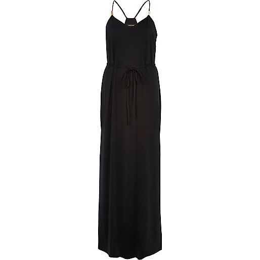 Black racer back cami maxi dress