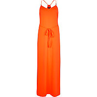 Orange racer back cami maxi dress