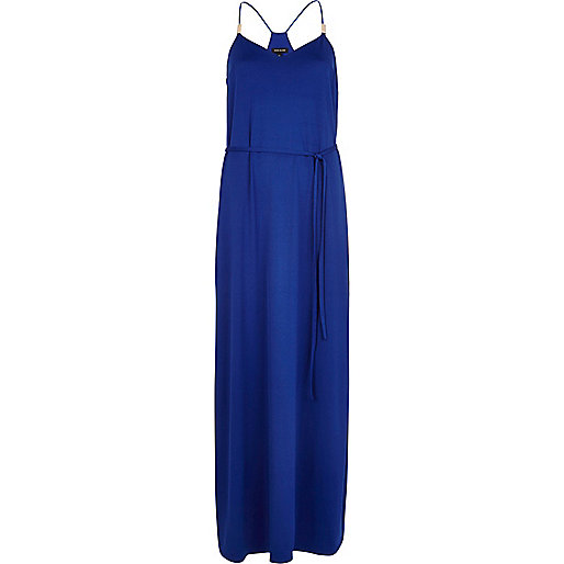 Bright blue racer back cami maxi dress