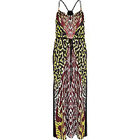 Dark red abstract tribal print maxi dress