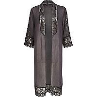 Grey longline victoriana kimono