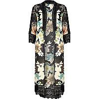Black floral longline victoriana kimono