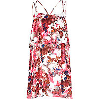 Pink floral print double layer slip dress