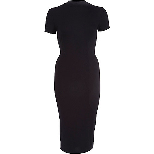 Black turtle neck midi dress