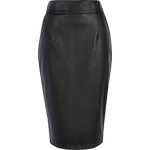 Black high waisted leather-look pencil skirt
