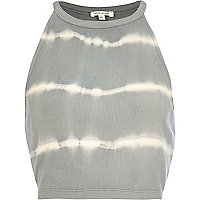Grey tie dye racer front crop top