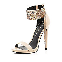 Nude metal cuff barely there sandals