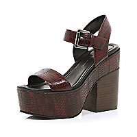 Dark red snake two-strap platform sandals
