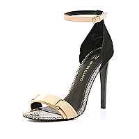 Nude snake metal trim barely there sandals