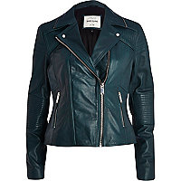 Dark teal leather biker jacket