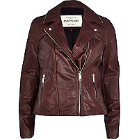 Dark red zip trim leather biker jacket