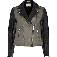 Dark grey colour block leather biker jacket