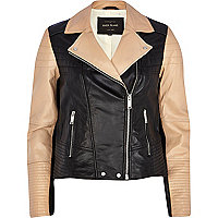 Black colour block leather biker jacket