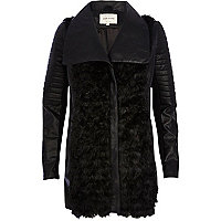 Black faux fur panel longline biker jacket