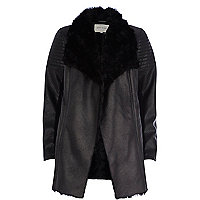 Black leather-look shearling jacket
