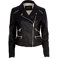 Black leather-look zip detail biker jacket