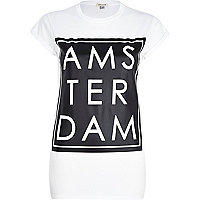 White Amsterdam print fitted t-shirt