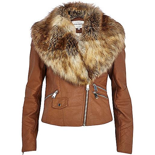 Tan faux fur collar biker jacket