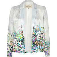 Light blue placement tropical print blazer
