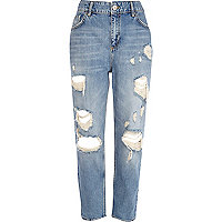 Light wash ripped straight jeans