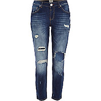 Dark wash ripped Eva girlfriend jeans
