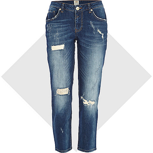 Mid wash ripped Eva girlfriend jeans