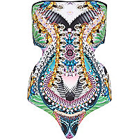 Blue abstract print monokini