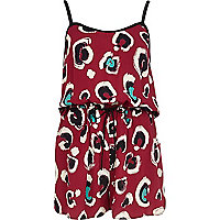Dark red animal print casual playsuit
