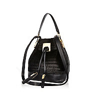 Black croc textured pony skin duffle bag
