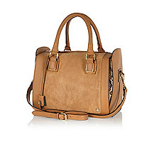 Tan leather and suede bowler bag