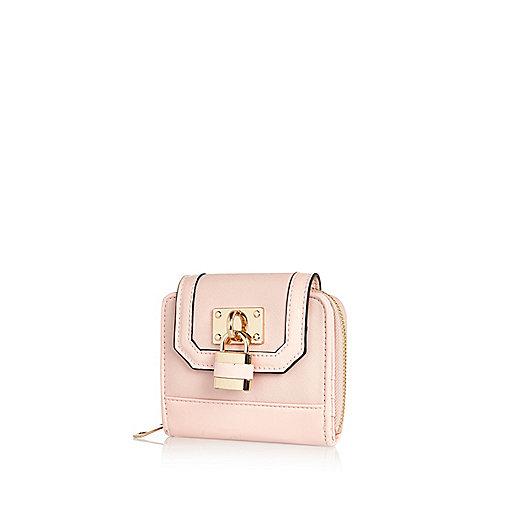 Light pink padlock trim mini purse
