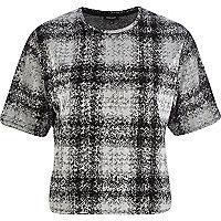 Grey tartan boxy crop t-shirt