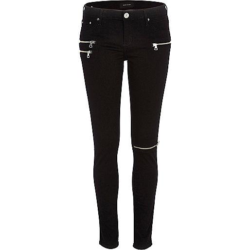 Black zip detail superskinny jeans