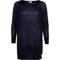 Navy mohair stepped hem slouchy jumper