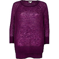 Purple mohair stepped hem slouchy jumper