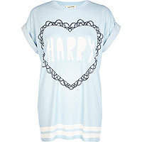 Blue Harry heart print oversized t-shirt