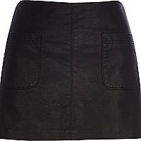 Black leather-look pocket mini skirt