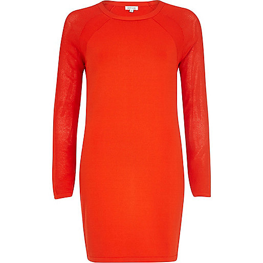Red mesh long sleeve bodycon dress