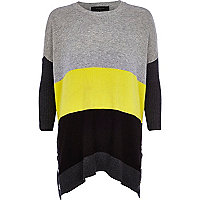 Grey colour block popper side longline jumper