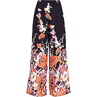Navy floral border print palazzo trousers
