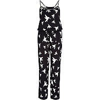 Black bird print cami jumpsuit