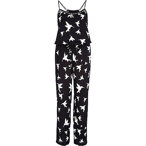 Black bird print cami jumpsuit