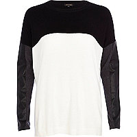 Cream leather-look sleeve jumper