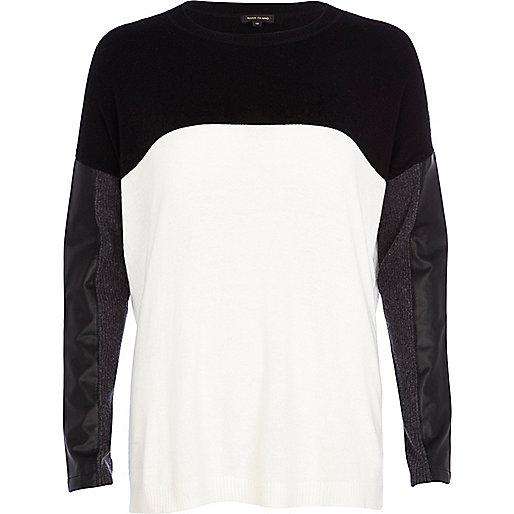 Cream leather-look sleeve jumper