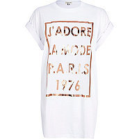 White j'adore Paris foil print t-shirt