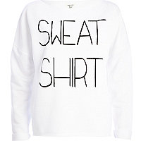 White sweatshirt print sweatshirt
