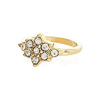 Gold tone diamante cluster midi ring