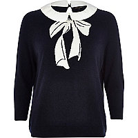Navy bow print contrast collar jumper