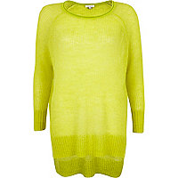 Lime mohair stepped hem jumper